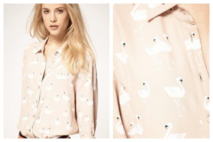 asos swan print blouse